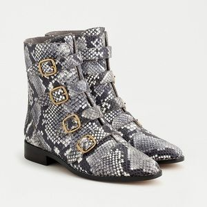 J. Crew Multi-Buckle Snake-Embossed Leather Boots